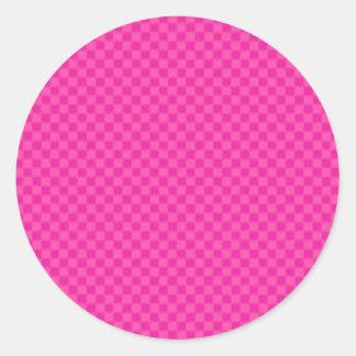 Rosa a cuadros pegatina redonda