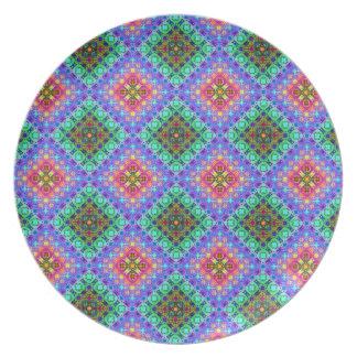 Rosa a cuadros y modelo del fractal de Terquoise Plato De Comida