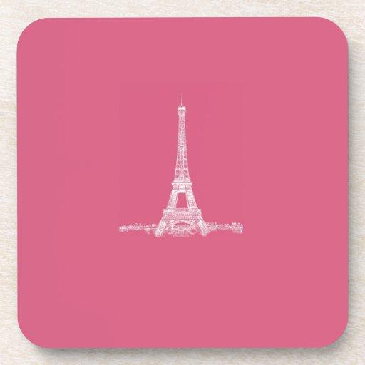 Rosa abstracto de París de la torre Eiffel Posavasos De Bebidas