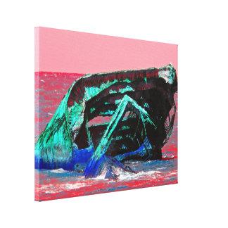 Rosa abstracto del naufragio impresión en tela