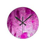 rosa abstracto del neón de los mapas reloj de pared