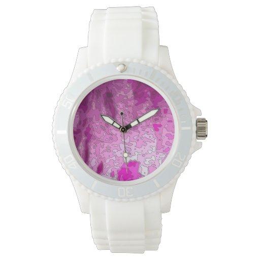 rosa abstracto del neón de los mapas relojes de pulsera