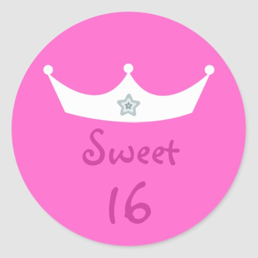 Rosa adaptable de princesa Crown Sweet 16 bonitos Pegatina Redonda