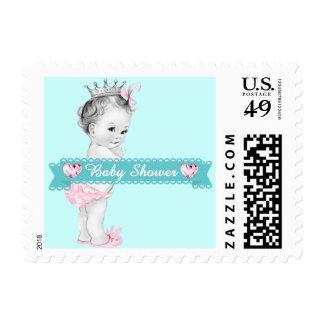 Rosa adorable y princesa azul fiesta de bienvenida timbre postal