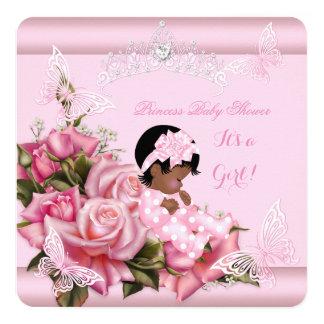 """Rosa afroamericano de la mariposa del chica de la invitación 5.25"""" x 5.25"""""""