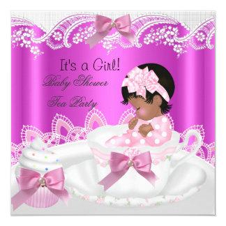 """Rosa afroamericano del chica de la fiesta de invitación 5.25"""" x 5.25"""""""