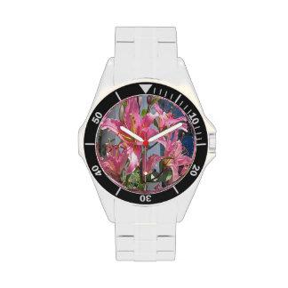 Rosa al aire libre de la planta del lirio relojes