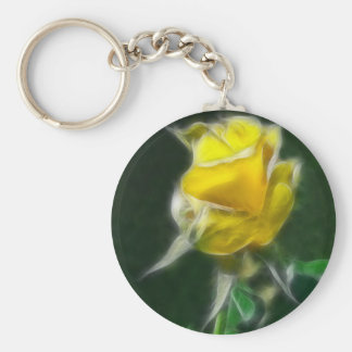 Rosa amarillo 2 intenso llavero redondo tipo pin
