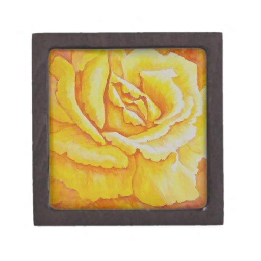 Rosa amarillo caja de recuerdo de calidad