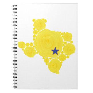 Rosa amarillo de la estrella azul de TX Libros De Apuntes