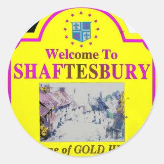 Rosa amarillo de Shaftesbury Pegatina Redonda