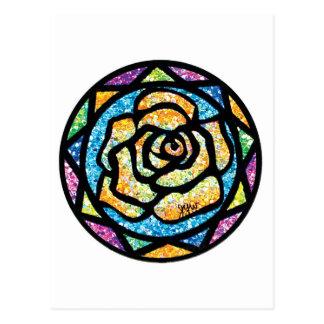 Rosa amarillo del brillo de la chispa postal