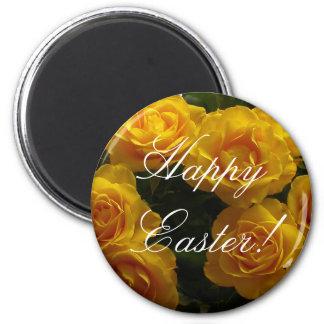 Rosa amarillo del imán feliz de Pascua