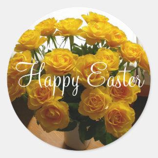 Rosa amarillo del pegatina feliz de Pascua