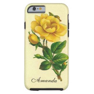 Rosa amarillo del vintage funda para iPhone 6 tough