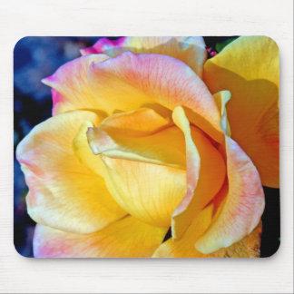 Rosa amarillo delicado de la llama de noviembre mouse pad