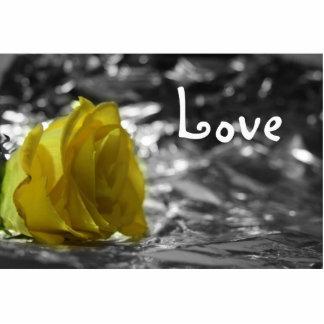 Rosa amarillo en amor del fondo de la plata del la esculturas fotograficas