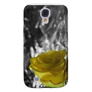 Rosa amarillo en fondo de la plata del lado izquie funda para galaxy s4