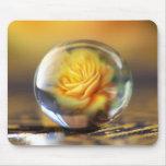 Rosa amarillo en una bola de cristal alfombrillas de ratones