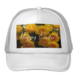Rosa amarillo feliz de Pascua Gorro De Camionero