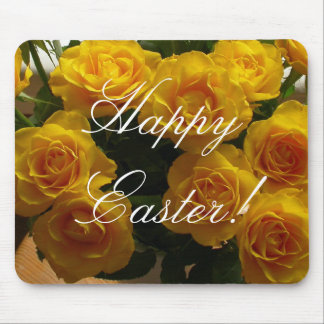 Rosa amarillo feliz de Pascua Tapetes De Ratón