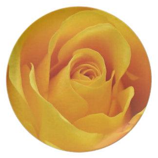 Rosa amarillo grande plato para fiesta