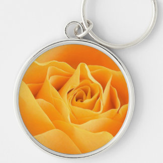 Rosa amarillo llavero redondo plateado