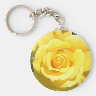 Rosa amarillo llavero redondo tipo pin