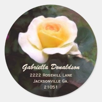 Rosa amarillo: Pegatinas de la dirección Pegatina Redonda