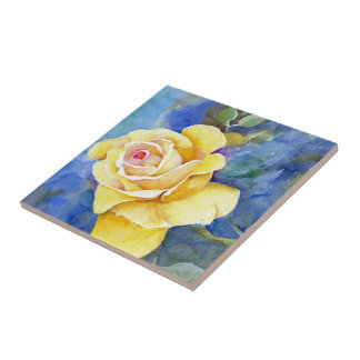 Rosa amarillo perfecto en acuarela azulejo cuadrado pequeño