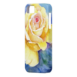 Rosa amarillo perfecto en acuarela iPhone 5 carcasa