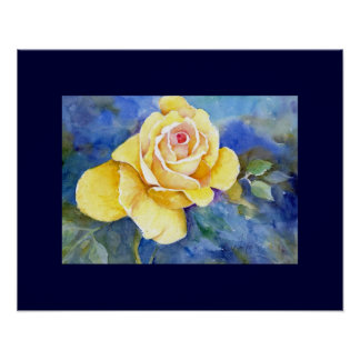 Rosa amarillo perfecto en acuarela poster