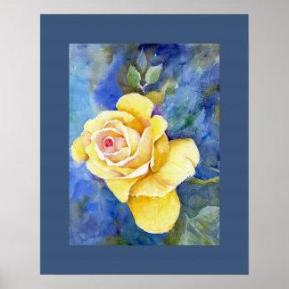Rosa amarillo perfecto en acuarela impresiones