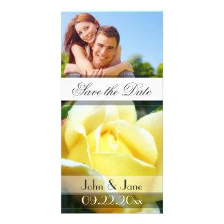 "Rosa amarillo /photo ""reserva la fecha "" tarjeta fotografica personalizada"