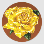Rosa amarillo pintado pegatina redonda