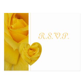 Rosa amarillo RSVP Tarjeta Postal