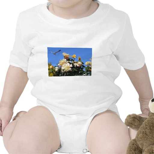 Rosa amarillo traje de bebé