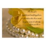 Rosa amarillo y perlas que casan la tarjeta del fa tarjetas de visita