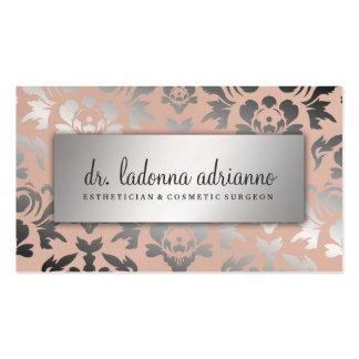 Rosa amelocotonado de la plata del damasco de 311 tarjetas de visita