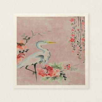 rosa asiático de la flor de la grúa de las servilleta desechable