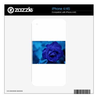 Rosa-azul-amor, vida, lluvia iPhone 4 skin