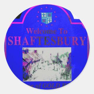 Rosa azul de Shaftesbury Pegatina Redonda