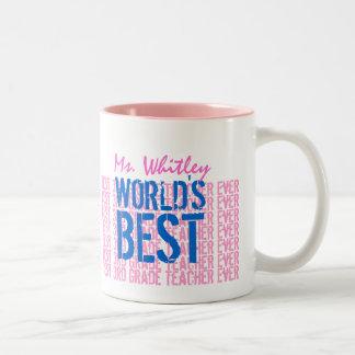 Rosa azul del mejor 3ro profesor del grado taza de dos tonos