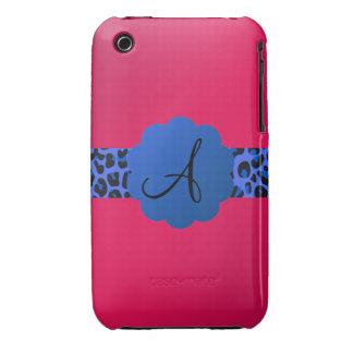 rosa azul del monograma de la raya del modelo del Case-Mate iPhone 3 coberturas