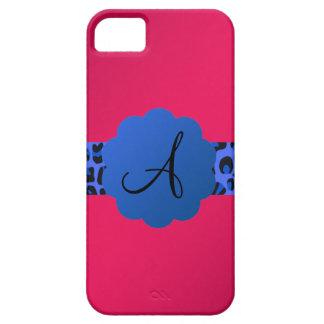 rosa azul del monograma de la raya del modelo del iPhone 5 coberturas