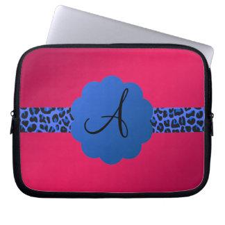 rosa azul del monograma de la raya del modelo del fundas computadoras
