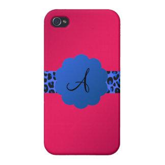rosa azul del monograma de la raya del modelo del iPhone 4 cobertura