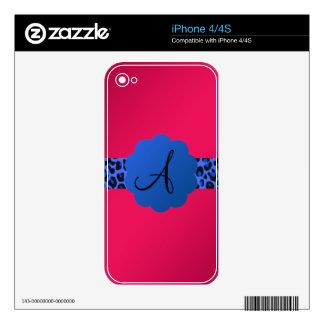 rosa azul del monograma de la raya del modelo del calcomanía para iPhone 4S
