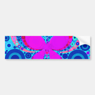 Rosa azul del mosaico del círculo concéntrico de l pegatina de parachoque