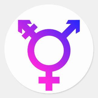 Rosa/azul del símbolo de Trans* Pegatina Redonda